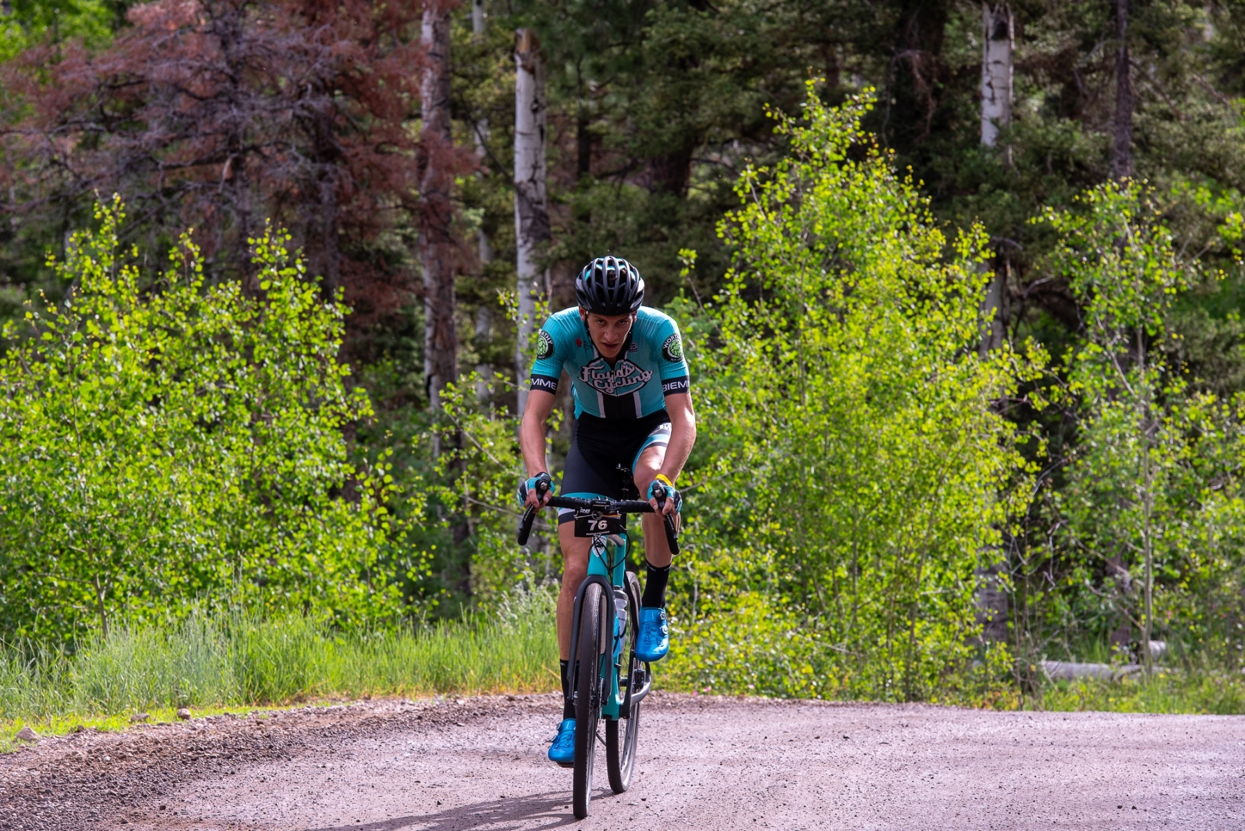 Noah Granigan (Floyd's Pro Cycling) on the early climb. Photo: Steven L. Sheffield
