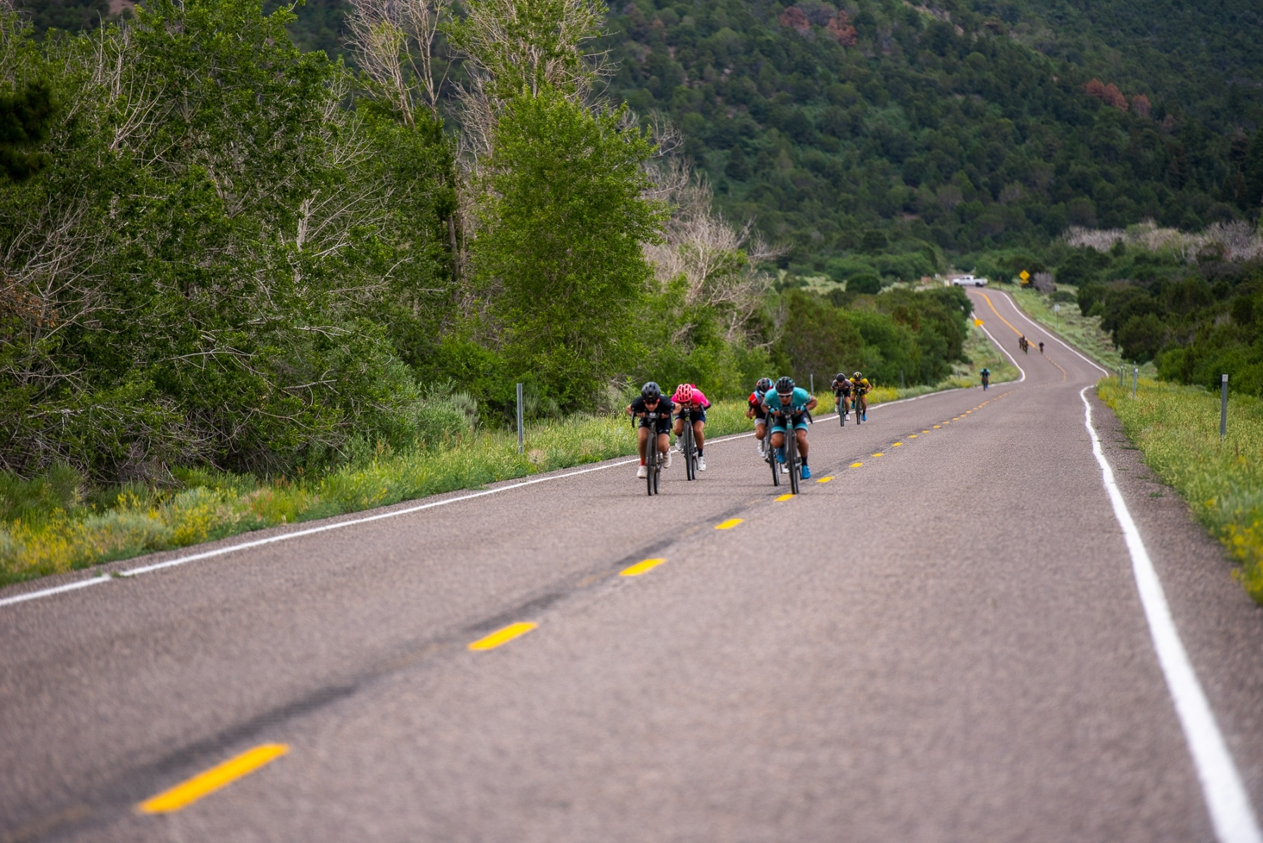 The Pro men's field split into several small groups on the Highway 153 descent into Junction. Photo: Steven L. Sheffield