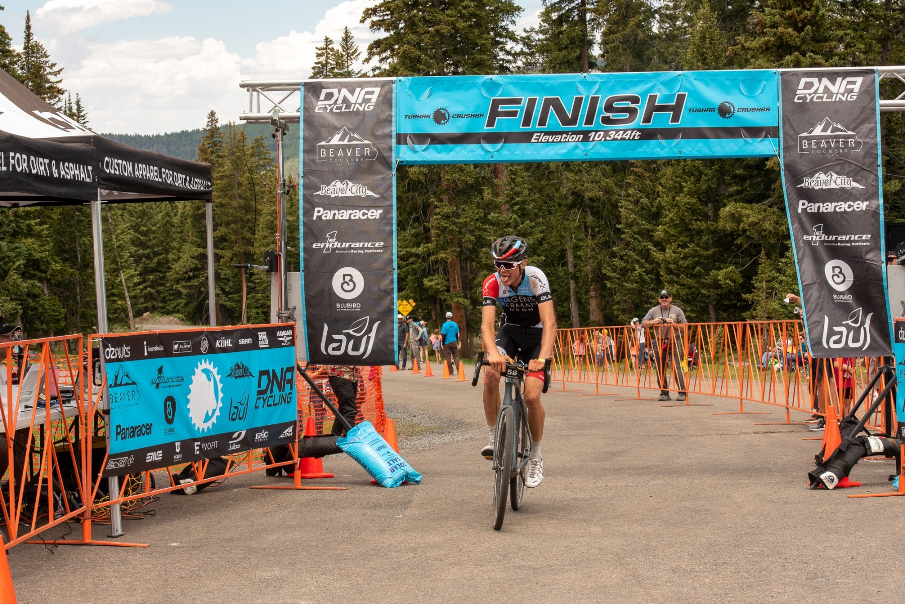 Something about the Crusher causes people's tongues to hang out. Eddie Anderson (Axeon-Hagens Berman) crosses the line in second place. Photo: Steven L. Sheffield.