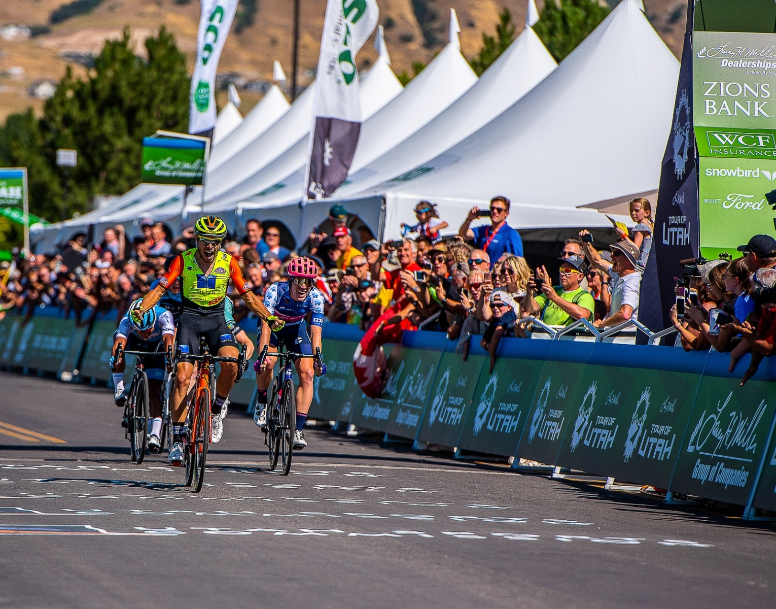 Umberto Marengo (Neri Sottoli-Selle Italia-KTM) takes Stage 1 in a 5 man sprint, followed closely by Lawson Craddock (EF Education First), who moves into the yellow jersey of GC leader. 2019 Tour of Utah. Photo by Steven L. Sheffield