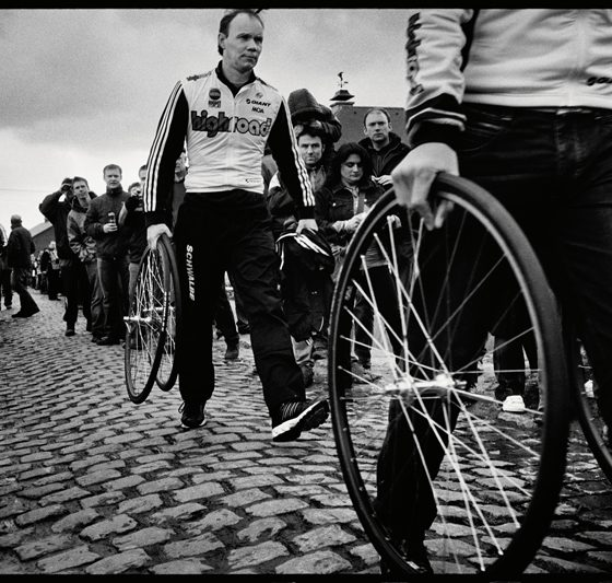Soigneurs with spare wheels are spread all along the race. Extreme events like Paris-Roubaix can mean up to 20 extra mechanics and team helpers out on the course. Photo by Taz Darling.